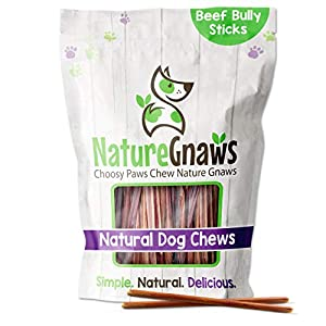Nature Gnaws Extra Thin Bully Sticks for Dogs – Premium Natural Beef Bones – Long Lasting Dog Chew Treats for Small Dogs & Puppies – Rawhide Free – 6 Inch (10 Count)