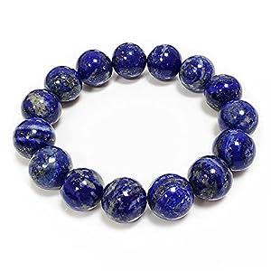 "Chengmu 14mm Lapis Lazuli Stretch Bracelet for Men Natural Round Beads Semi Precious Gemstone for Crystal Elastic Beaded Bracelet 8"""