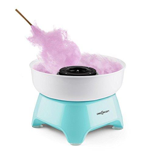 oneConcept Candycloud - Mini-Zuckerwattemaschine, Zuckerwattegerät, Cotton Candy Maker, 500 Watt Heizelement, abnehmbarer Auffangbehälter, Dosierlöffel, einfache Reinigung, blau