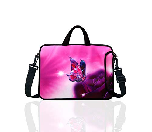 """10-Inch Laptop Shoulder Bag Sleeve Case with padded handle for 9.6"""" 9.7"""" 10"""" 10.1"""" 10.5"""" Ipad/Netbook/Tablet/Reader (Pink Butterfly)"""