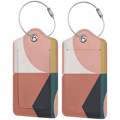 Maximalist Geometric Luggage Tags Suitcase Carry-on Id Intial Bag Holders with Adjustable Straps for Travel Business,2 per Set