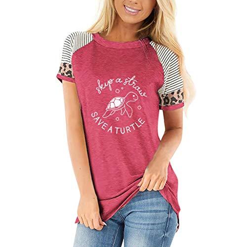 Eaylis Damen Tops Beiläufige Kurze Hülsen der Frauen Runder Ansatz Leopard Buchstabe Druck T-Shirt Beiläufige Frauen Bluse