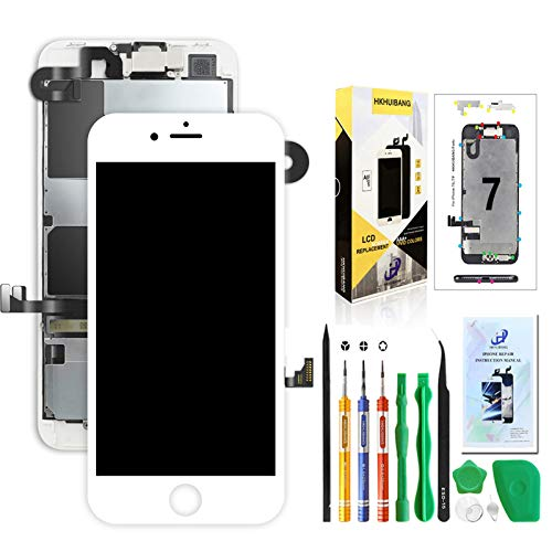 Screen Replacement for iPhone 7 White,Hkhuibang 4.7'' Upgraded LCD Display 3D Touch Screen Digitizer Full Frame Assembly with OEM Front Camera Proximity Sensor Earpiece Speaker + Repair Tool