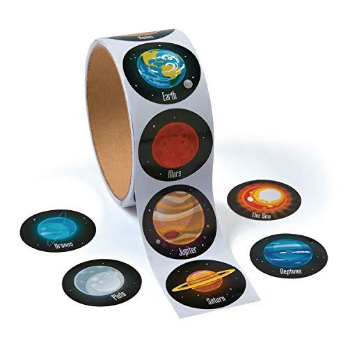 cama24com Weltraum Planeten Sticker Aufkleber 100 Stück Mitgebsel Mottoparty Partytüten mit Palandi® Sticker