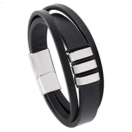 ABWEY Pulsera de cuero para hombre de acero inoxidable PU negro vintage, pulsera simple con pulsera de cierre magnético-C_Los 20,5cm