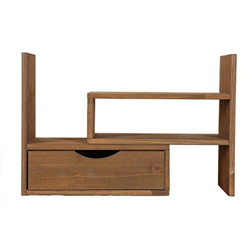 HYLR Japonais de Style créatif de Bureau en Bois réglable Petite étagère avec tiroirs étagères de fichier étagères, casiers Organisateur fichier étagère en Bois Massif bibliothèque Bureau