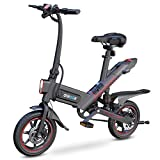 Gyroor C3 Electric Bike for Adults, 450W eBike with 18.6MPH up to 28 Mileage, 14in Air-Filled Tires, Dual Disc Braking, 3 Riding Modes