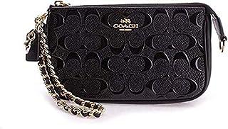Coach Women's Wristlet Signature Debossed Patent Leather, Large - Black