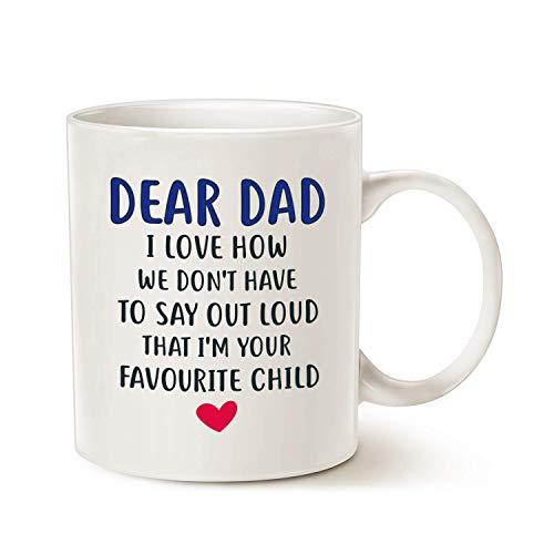 Taza de café divertida del día del padre para papá, querido papá, soy tu favorito niño taza de café, mejor regalo de Chrisas para papá, padre o padre, taza de porcelana, color blanco 11 onzas