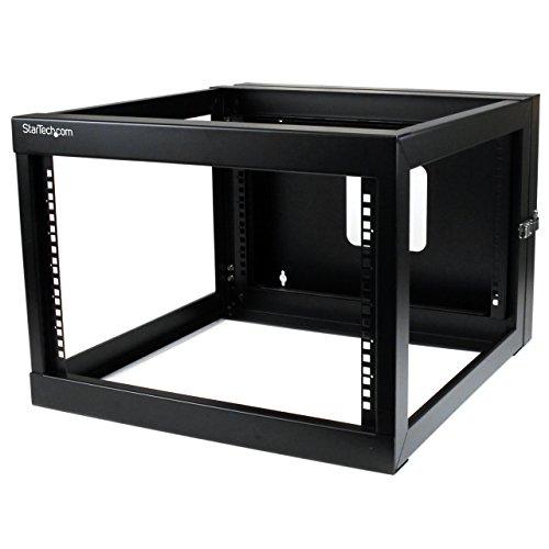 "StarTech.com 6U Hinged Open Frame Wall Mount Network Rack - 4-Post 22"" Depth Swing Out Computer Equipment Rack - 110lbs capacity (RK619WALLOH),Black"