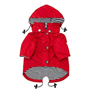 Ellie Dog Wear Red Zip Up Dog Raincoat with Reflective Buttons, Pockets, Water Resistant, Adjustable Drawstring, Removable Hoodie – Size XS to XXL Available – Stylish Premium Dog Raincoats