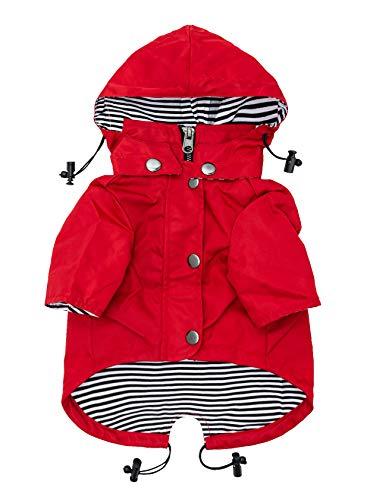 Premium regenachtige dag Zip Up hond regenjas met reflecterende knoppen, zakken, regen/waterbestendig, verstelbare trekkoord, afneembare hoodie - XXS naar XXL - meerdere kleuren