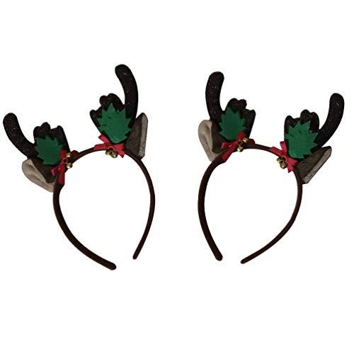 Amosfun 2pcs Weihnachtsgeweih Headwear Rotwildhorn Hairband Elchohr-Haarhaken für Partei