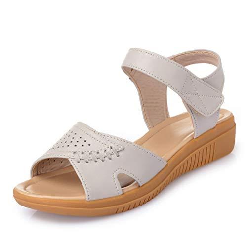 Sandalias de Mujer Cuña de Playa Antideslizante Moda Color sólido Hollow out Costura Correa de Cuero de Cuero Tallas Grandes 42 Verano Señoras Sandalias Peep Toe