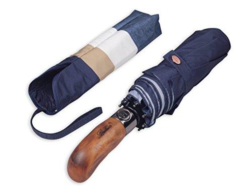 Balios Regenschirm mit handgefertigtem Echtholzgriff und Auto Auf - Zu Funktion Winddichte Starke Glasfaser feinstes Gewebe (Vier-Farbig (Navy, Weiß, Beige, Jeans))