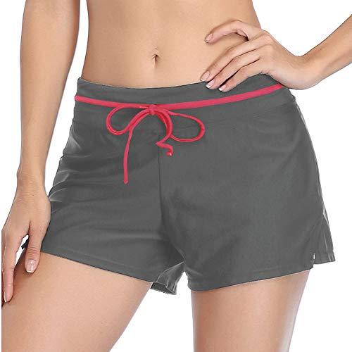 Summer Mae Pantaloncini Sportivi Pantaloncini da Bagno Regolabili da Donna Grigio/Rosa XXL