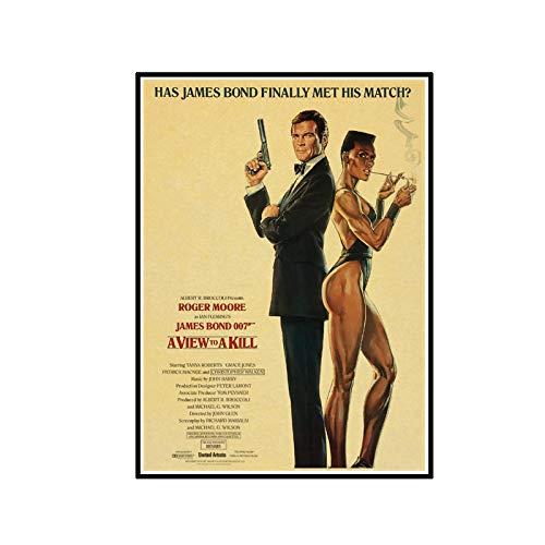 ADNHWAN British Legend James Bond 007 Retro Poster e Stampe di Arte della Parete della Tela di Canapa Pittura Stampe su Tela per La Decorazione della Parete di Casa -50X70 cm Senza Cornice 1 PZ