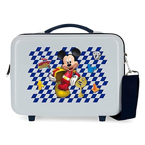 Disney Mickey Good Mood Neceser Adaptable con Bandolera Azul 29x21x15 cms Rígido ABS 9,14L