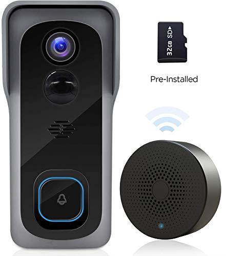 WiFi Video Doorbell Camera with Chime, Two-Way Audio, IP65 Waterproof PIR Motion...