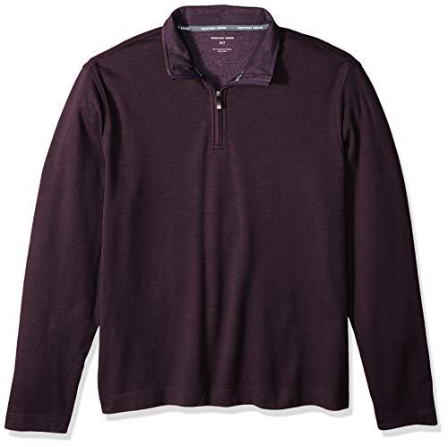 Geoffrey Beene Men's Big & Tall Tall Long Sleeve Stretch Twill 1/4 Zip Pullover, Dark Walnut, 4X-Large Big