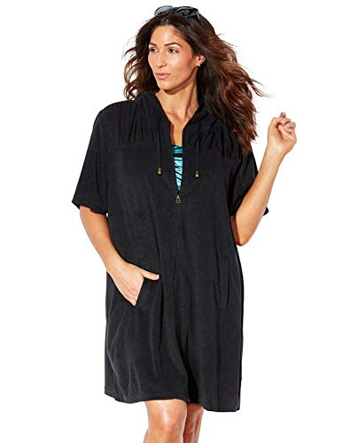 Swimsuits For All Women's Plus Size Alana Terrycloth Cover Up Hoodie 18/20 Black