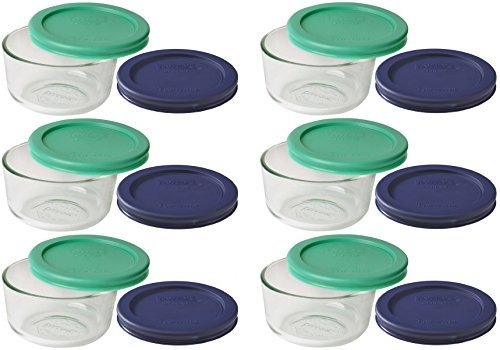 Pyrex Storage 1 Cup Round Dish, Clear with Green + Blue Lids, Containers by Pyrex