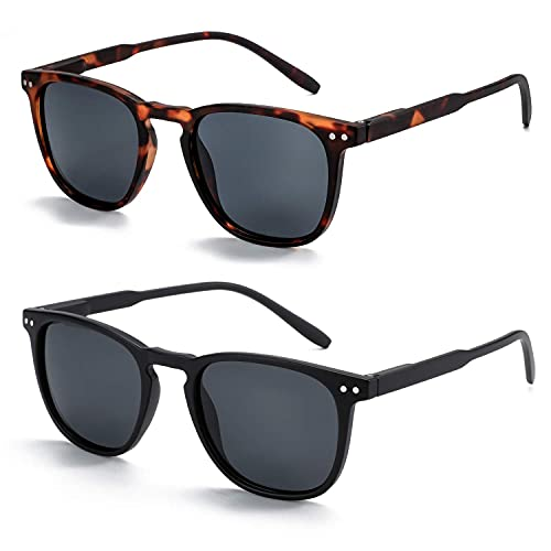 ZENOTTIC Polarisierte Sonnenbrille Damen Herren Retro Vintage Runde Quadratische Rahmen UV400 Schutz 2 Paare
