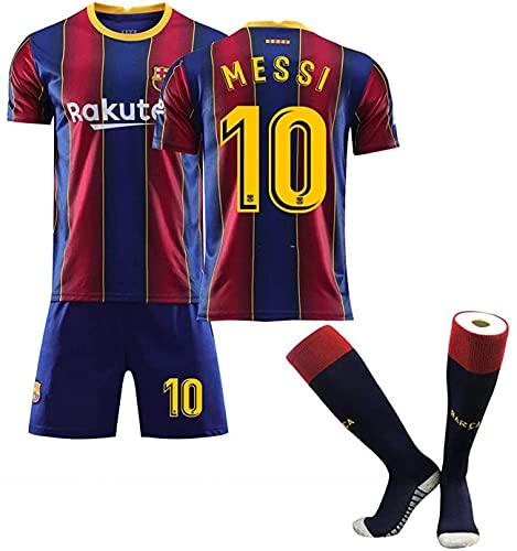 Retro Fußball Trikot T-Shirt,Trikot und Hose,Barca Messi 2020/2021 Heim Trikot und Shorts, Erwachsene und Kinder Fußball Jersey Set + Socken, atmungsaktiv und schnell trocknend (22)