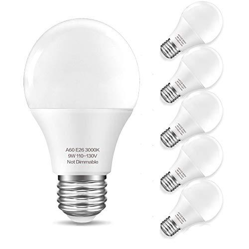 KINDEEP A19 60W Equivalent LED Light Bulb, Warm White 3000K, 9W 900 Lumens, CRI80+ 110V, E26 Base LED Bulbs Non-Dimmable, 270° Beam Angle 6-Pack