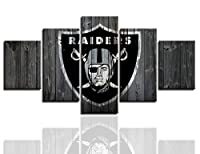 Oakland Raiders Posters for Wall 5 Piece Wall Art Painting Canvas Print Artwork Pictures Home Decor With Frame Ready to Hang(60''Wx32''H)