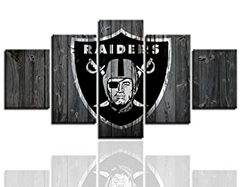 MIAUEN Oakland Raiders Posters for Wall 5 Piece Wall Art Painting Canvas Print Artwork Pictures Home Decor with Frame Ready to Hang 60  Wx32  H