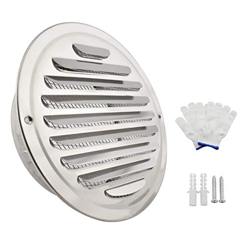 SDTC Tech 6 Inch Round Soffit Air Vent Stainless Steel Louver Grille Cover Wall Air Ventilation Outlet Hood with Built-in Screen Mesh for Kitchen Bedroom Bathroom Office etc