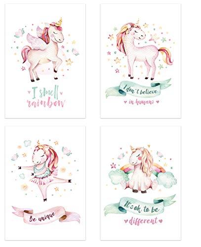 PICSonPAPER - Juego de 4 pósteres para niños, DIN A4, sin Marco, decoración para habitación de los niños, pósteres para niños, Postales para bebés, Acuarelas, Cuadro de Pared