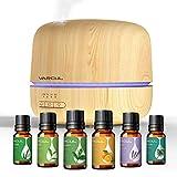 VARCUL - Diffusore di aromi, 300 ml, con venature del legno, a ultrasuoni, umidificatore per aromaterapia, diffusore con 6 oli essenziali, 7 colori intercambiabili per yoga, spa/camera da letto