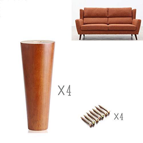 HWJ meubelpoten set van 4 massieve, conische hout/eiken voor bank, bijzettafel, bed, meubelpoten (rechte conus, schuine conus) natuurlijk hout