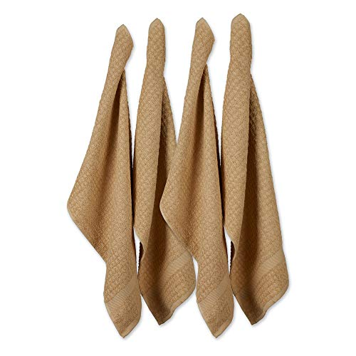 DII Cotton Waffle Terry Dish Towels, 15 x 26' Set of 4, Ultra Absorbent, Heavy Duty, Drying & Cleaning Kitchen Towels-Pebble