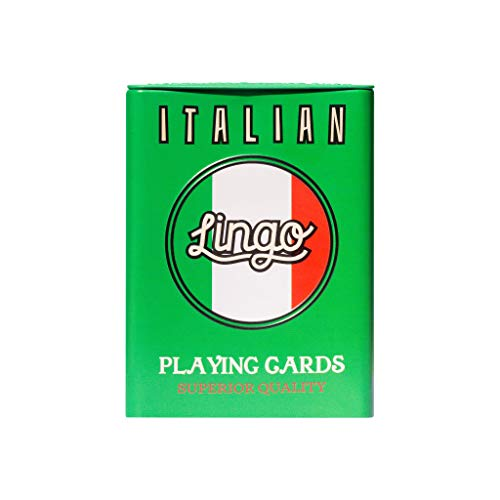 Lingo Playing Cards in Tin Box   Sturdy Travel Case   Language Learning Game Set with Useful Phrases   Fun Visual Flashcard Deck to Increase Vocabulary and Pronunciation Skills (Italian)