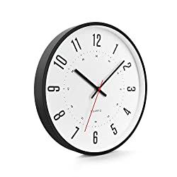 Driini Modern Mid Century Analog Wall Clock (12) – Large, Easy to Read Numbers; Black Metal Frame – Battery Operated with Silent Sweep Hands – Contemporary Decor for Office, Living Room, or Kitchen