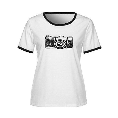 JIJI886 Femme Confortable Respirant Manche Courte Col Rond Slim Tops Lovers Grande Taille Casual T Shirt avec Caméra rétro LettresPatterns Thème