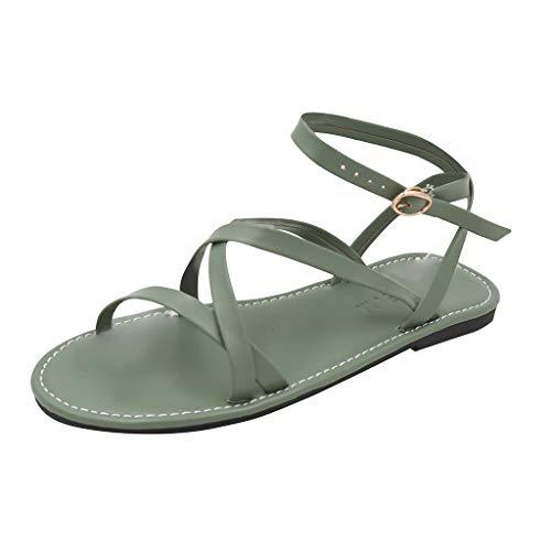 🍒🌸Eaylis Sommer Sandalen Damen Mit Absatz,Einfarbige Querriemen Flache RöMische Sandalen