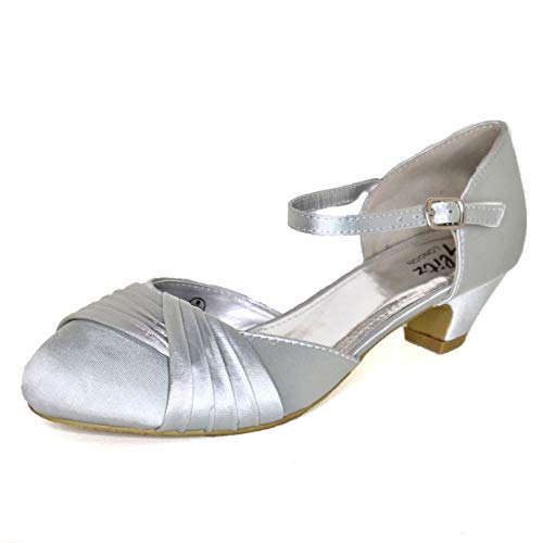 Zapatos de tacón bajo de satén para mujer, correa de tobillo, para...