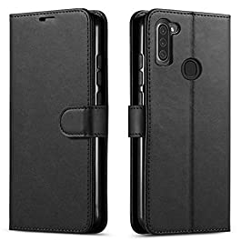 STARSHOP – Samsung Galaxy A11 Phone Case, Included [Tempered Glass Screen Protector], Starshop Premium Leather Wallet Pocket Cover and Credit Card Slots – Black
