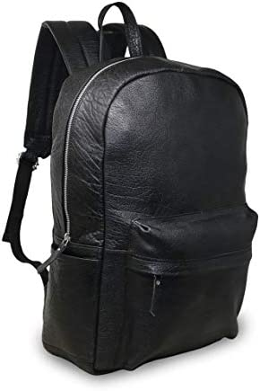18 Black Genuine Leather Laptop Backpack Water Resistant Casual office work professional College product image
