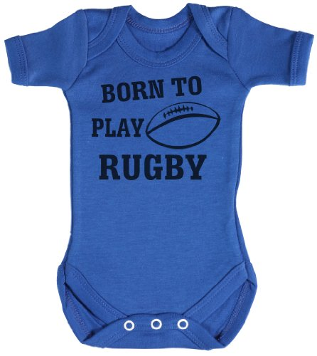 TRS - Born To Play Rugby Bodys/Strampler 3-6 Monate Blau