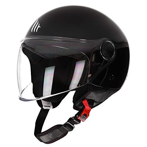 MT Street Jet-Helm · Motorrad-Helm Roller-Helm Scooter-Helm Bobber Mofa-Helm Chopper Retro Cruiser Vintage Pilot Biker ECE 22.05 (Schwarz, M)
