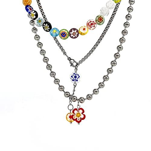 CHENLING Esmalte de colores multicapa collar femenino verano diseño ligero nicho clavícula cadena y2k chica picante collar accesorios