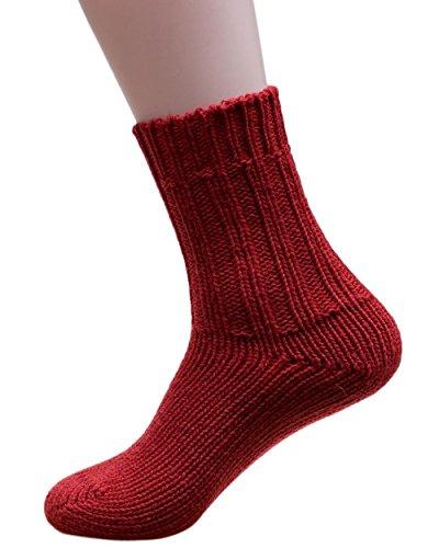 Hirsch Natur Socken, 100prozent reine Wolle, Grobstrick-Knöchelschutz mit Gewichtung, 191, Rot, 191 UK 6.5/7 / EU 40/41