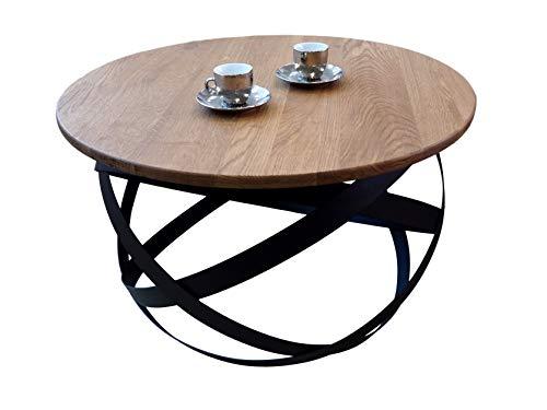 Lumarc Firenze Couchtisch aus Massivholz, natürliche Eiche, modernes Design, minimalistisch, Eiche, rund, D70 x 42,5 cm (Schwarz)