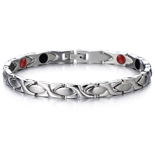 COOLSTEELANDBEYOND Magnetico, Bracciale da Donna, Acciaio, Link, Braccialetto, La Elemento con Magneti e Germanio, Lucido e Satinato