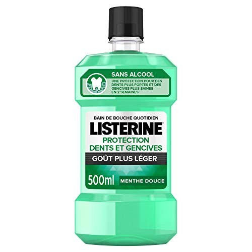 Listerine Bain de Bouche Protection Dents et Gencives Goût Plus Leger, 500ml